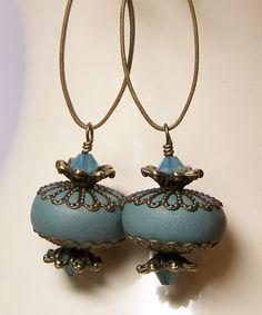 Denim #blue #earrings-backward bead caps...