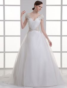Ivory V-Neck Off-The-Shoulder Beading Organza Wedding Gown. Get unbelievable discounts up to 60% Off at Milanoo using Coupon & Promo Codes.