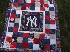 ny yankees baseball quilt patterns | Grandson Giovanni's Quilt # 1 of 3 NY Yankee Quilts