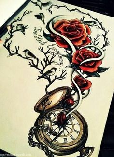 Possible tattoo design / Rose tattoo / pocketwatch tattoo / time heals everything