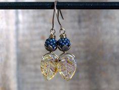Czech Glass Leaf Earrings with Handmade Bramble Beaded Beads. Fall Leaf Earrings. Berries, Brambles, Autumn Leaves. Nature Inspired Jewelry