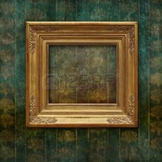 Golden classic frame on a faded and scratched Victorian floral texture Stock Photo