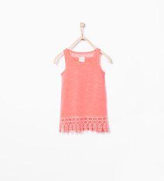 ZARA - KIDS - Organic cotton tank top with embroidered hem
