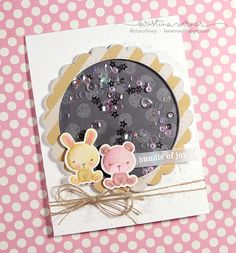 Baby Shower Shaker Card - No-line watercoloring with Distress Markers, plus instructions on building a shaker card with fun foam.