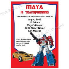 Transformers bumblebee photo birthday invitation design no 3 transformers printable birthday party invitation editable pdf available for immediate download 500 filmwisefo