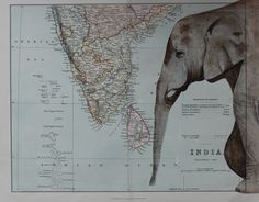 """""""A Passage to India""""  A limited edition print of a watercolour painting of an elephant on a vintage map https://www.artfinder.com/product/a-passage-to-india/"""
