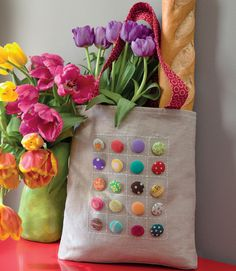 Make this fun tote and decorate it with fabric-covered buttons, antique buttons, charms, or pins. From the book Sew Practical: 13 Fun-to-Sew Designs for You and Your Home.
