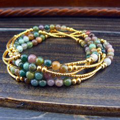 SUMMER SALE--5 Wraps Natural Stone Gold Tone Bars Beaded Flexible Bracelet Long Necklace 9901