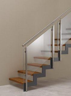 Steel Railing Design, Staircase Railing Design, Home Stairs Design, Stair Handrail, Interior Stairs, Home Design Plans, House Design, Glass Stairs, Floating Stairs