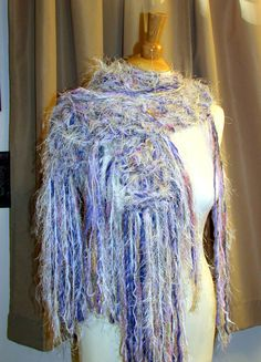 Hand knit scarf fringe knit scarf lavender by Southernbornnblessed