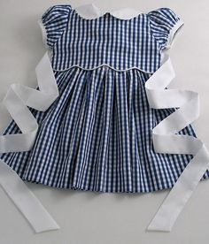 Navy Gingham Scallop Baby Dress - Patricia Smith Designs