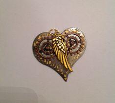 Heart shaped steampunk inspired brooch by Priscilla's Emporium on Etsy Sculpture Art, Heart Shapes, Steampunk, My Etsy Shop, Hearts, Brooch, Inspired, Metal, Inspiration