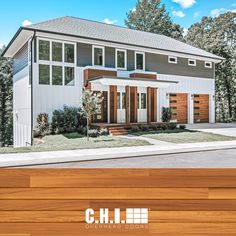 There's a reason why builders across the nation choose Accents Woodtones by C.H.I. Get the look of wood, without the maintenance. Explore the most realistic woodtone garage doors on the market today! Shown: The Warren at Camber Hill designed by Collier Construction. Garage Door Windows, Wood Garage Doors, Windows And Doors, Black Window Frames, Black Windows, Types Of Insulation, Cedar Planks, Window Types, Contemporary Style