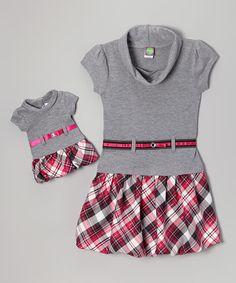 Look at this #zulilyfind! Pink & Gray Plaid Bubble Dress & Doll Dress - Toddler & Girls by Dollie & Me #zulilyfinds