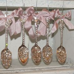 Rhinestone spoon ornaments collection shabby chic Christmas decorations embellished silk pink bows, German silver glass by anita spero
