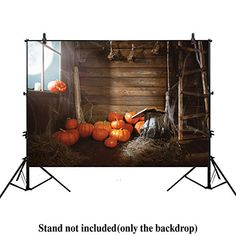 7bd1b26cf0d Allenjoy 7x5ft Photography Backdrop Background Halloween Background Old  Wooden hut Witches barn Pumpkins Cobwebs Magic Book