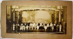 Panoramic-Antique-Photo-Children-Ornate-Stage-Dance-Recital-early-20th-Century