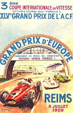 1959 Grand Prix of Europe poster ~ The French Grand Prix (aka GP of Europe) was…