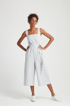 Frame your face with a square neckline. This playful jumpsuit was handwoven and handmade in 100% organic cotton.