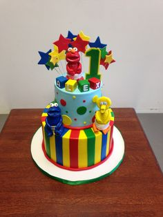 Sesame Street Themed 1st Birthday Cake