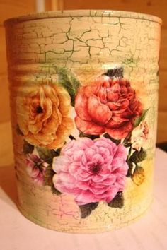 decoupage art craft handmade home decor DIY do it yourself tutorial acrylic paint varnish napkin craquelure Diy Home Decor Easy, Diy Home Decor Projects, Handmade Home Decor, Cheap Home Decor, Decor Ideas, Craft Ideas, Decoupage Art, Decoupage Vintage, Decoupage Tutorial