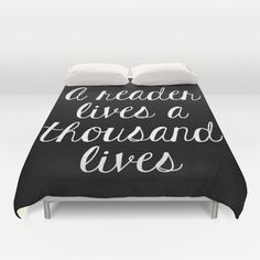 A+Reader+Lives+a+Thousand+Lives+-+Inverted+Duvet+Cover+by+Bookwormboutique+-+$99.00