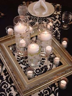 Decorations Tips, Love The Frame Idea For Centerpieces: Black and White Wedding Centerpieces Ideas