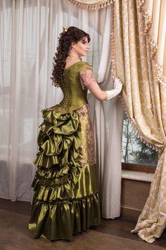 Victorian walk costume victorian dress bustle skirt Made to