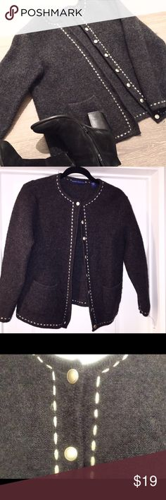 Karen SCOTT Wool Cardigan Sweater Very cute Karen Scott Women's XL 100% Wool with contrasting stitching Dark Grey Cardigan Sweater Silver Buttons two front pockets Excellent Pre Owned Condition Karen Scott Sweaters Cardigans