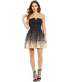 b7415a98898 B Darlin Strapless Foil Lace Party Dress  Dillards Lace Party Dresses