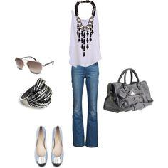 silver black and white outfit, created by cristina-pinero-aranda