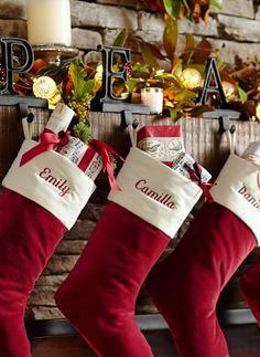 Red velvet Christmas stockings for everyone in the family #Christmas #MerryChristmas