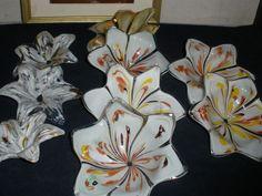 "set of 10 vintage  flower glass prisms craft/ BOBECHES 5"" for chandelier part"