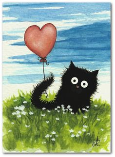 Black Fuzzy Cat Red Heart Balloon FuN PeT ArT - Original ArT ACEO Painting by…