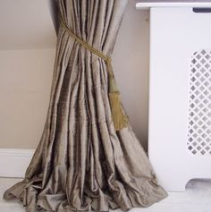 Gorgeous high quality silk curtains with pencil pleat heading and blackout lining. Handmade in UK. Various colours available. FREE samples & FREE delivery