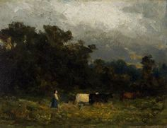 """Untitled (woman with cows), Edward Mitchell Bannister, ca. 1880, oil on cardstock board, 6 1/4 x 8 1/4"""", private collection."""