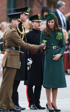 3/17/14.   Commanding Officer Lieutenant Colonel Ed Boanas said: 'It is matter of enormous privilege and pride to the Irish Guards that their Royal Highnesses the Colonel of the Regiment and the Duchess of Cambridge are visiting us today'