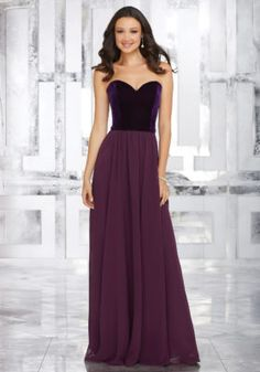 Stretch Velvet and Chiffon Bridesmaids Dress with Sweetheart Neckline | Style 21540 | Morilee