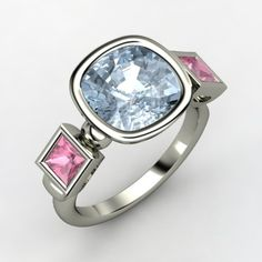 Cushion Aquamarine Palladium Ring with Pink Tourmaline | Amanda Ring | Gemvara