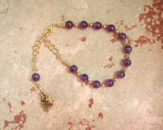Dionysos (Dionysus, Bacchus) Prayer Bead Bracelet in Amethyst: Greek God of Wine, Theater, Ecstasy and the Mysteries by HearthfireHandworks on Etsy