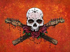 Day of the Dead Artist David Lozeau, Music Saves Your Soul, David Lozeau Dia de los Muertos Art - 1