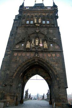 Old Town Gate on Charles Bridge, Prague, Czech Republic