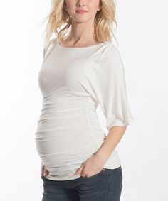 Look what I found on #zulily! Lilac Maternity Ivory Maternity Three-Quarter Sleeve Top by Lilac Maternity #zulilyfinds