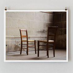 Fine Art Photography Brown Church Chairs by TheParisPrintShop