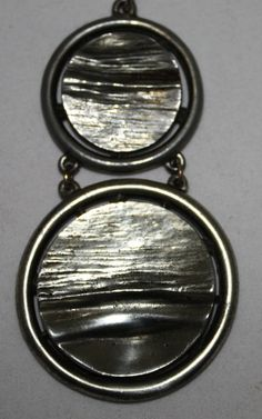 Vintage Necklace Two Silver Metal Rounds on by ilovevintagestuff
