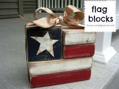 These darling wood flag blocks are made from wood, and SO easy to make! They are perfect patriotic decor-- Memorial Day decor, of July decor! 2x4 Crafts, Wood Block Crafts, Wooden Crafts, Wood Blocks, Rustic Crafts, Wood Projects, Glass Blocks, Scrap Wood Crafts, Jenga Blocks