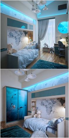Cool Built-in Wall Lighting Aqua Bedrooms, Rooms Home Decor, Home Bedroom, Bedroom Decor, Bedroom Ideas, Home Lighting, Wall Lighting, Kids Lighting, Lighting Ideas