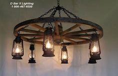 Chandelier - Rustic Wagon Wheel Chandelier Light Fixture with Hanging Lantern Lights - WW026