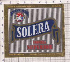 """Imagen de la etiqueta de cerveza """"Solera"""" de Polar."""