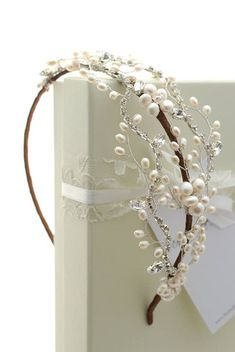 Vintage inspired freshwater pearl and rhinestone tiara Maria